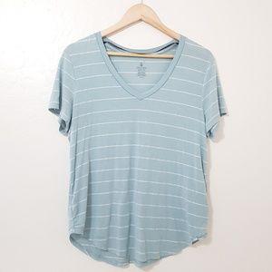 Volcom True to This Striped V Neck Tee Shirt